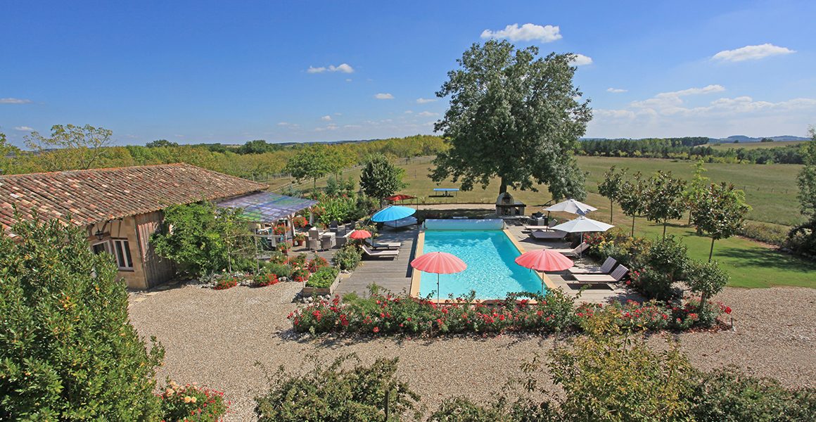 View over pool from The Granary