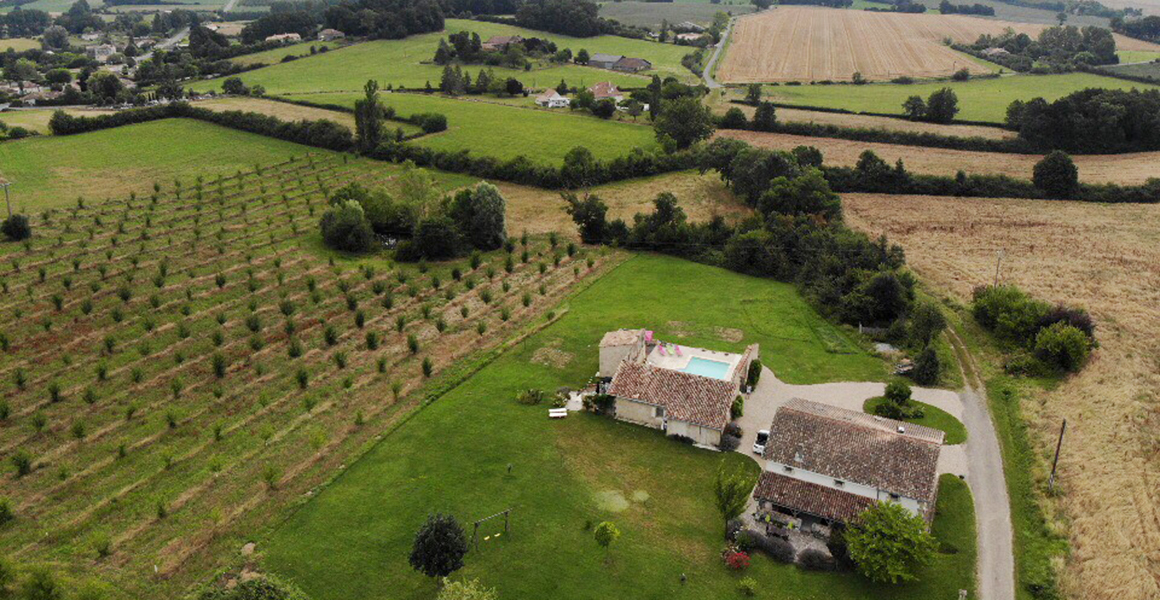 Catusse gite is set in an elevated position surrounded by farmland