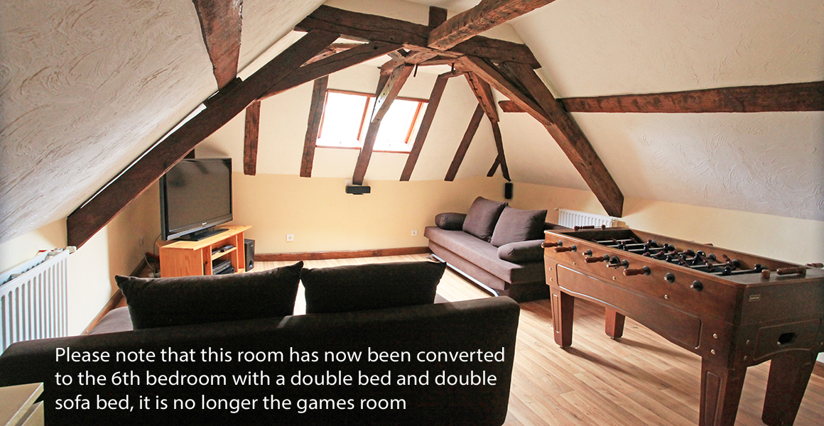 The second floor games room is now the 6th bedroom with a double bed and double sofa bed