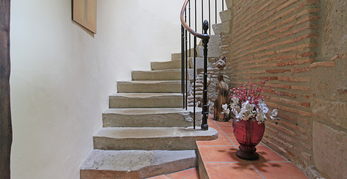 Stone staircase to first floor