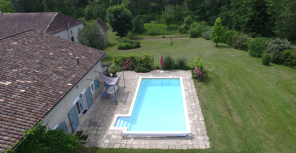 Aerial view of the pool and part of the grounds