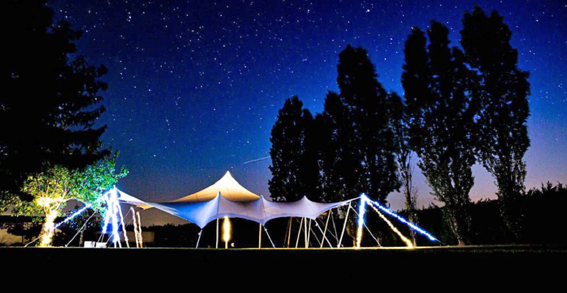 The wedding tent at night